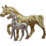 Brooch Signed NAPIER Featuring Pair of Horses