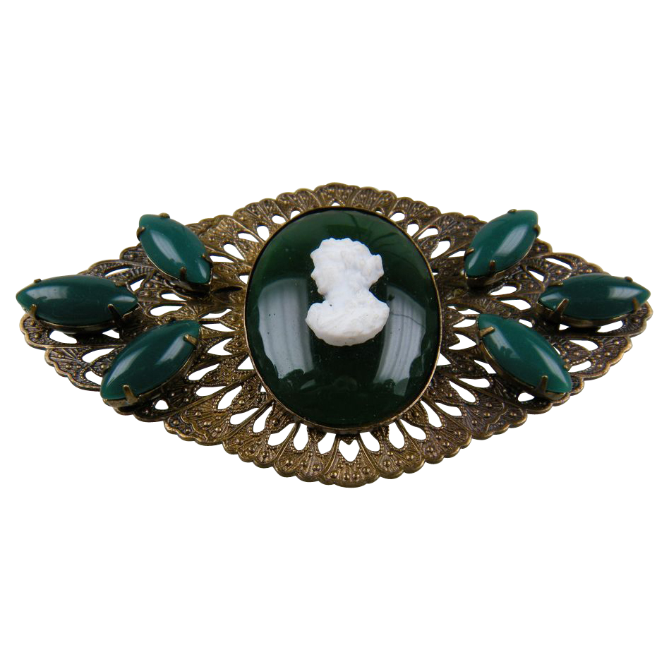 Early Imitation Cameo Brooch Huge