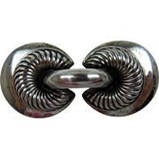 Signed MONET STERLING Art Deco Style Brooch