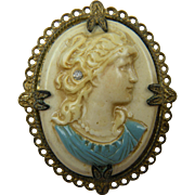 Celluloid Cameo Brooch in Brass Setting