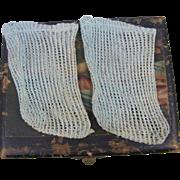 "Antique Socks From a 20"" Tete Jumeau Light Blue"