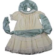 """Antique Cream Wool Challis Dress and Matching Hat For French or Chunky German Bisque Doll Length 16"""""""