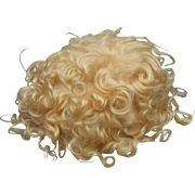 """Short Curly Blond Wig For Large Toddler or Baby Antique Bisque Doll almost 15"""" Circumference"""
