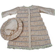 Lovely Coat Dress and Hat for an Antique Bisque doll or Reproduction Antique Doll 11 1/2'' Long