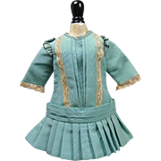 Turquoise Blue Silk Dropped Waist Dress With Antique Trims For Chunky French Or German Bisque Dolls