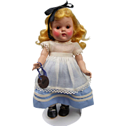 """7 1/2"""" Vogue Alice in Wonderland from 1952 All Original with """"Alice"""" Tag"""