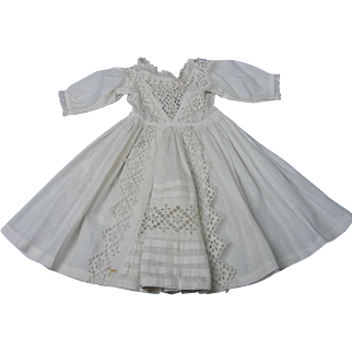 Beautiful Antique Eyelet Dress With Adjustable Neckline For Bebes or Chunky Bodies