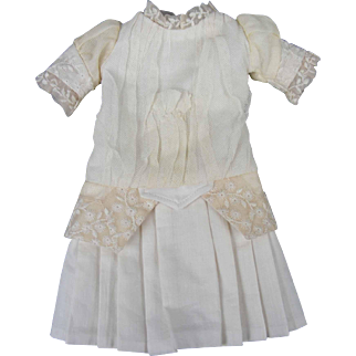 """Cream Net Dress for French or German Bisque Antique or Reproduction Doll 9 1/2"""" long"""