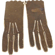 Antique Leather Gloves for Fashion Doll or Doll Trousseau