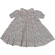 "Darling Sprigged Cotton Dimity Dress 13 1/2"" long"