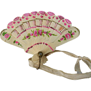 Celluloid Doll Fan in Pretty Pink and Cream Colors