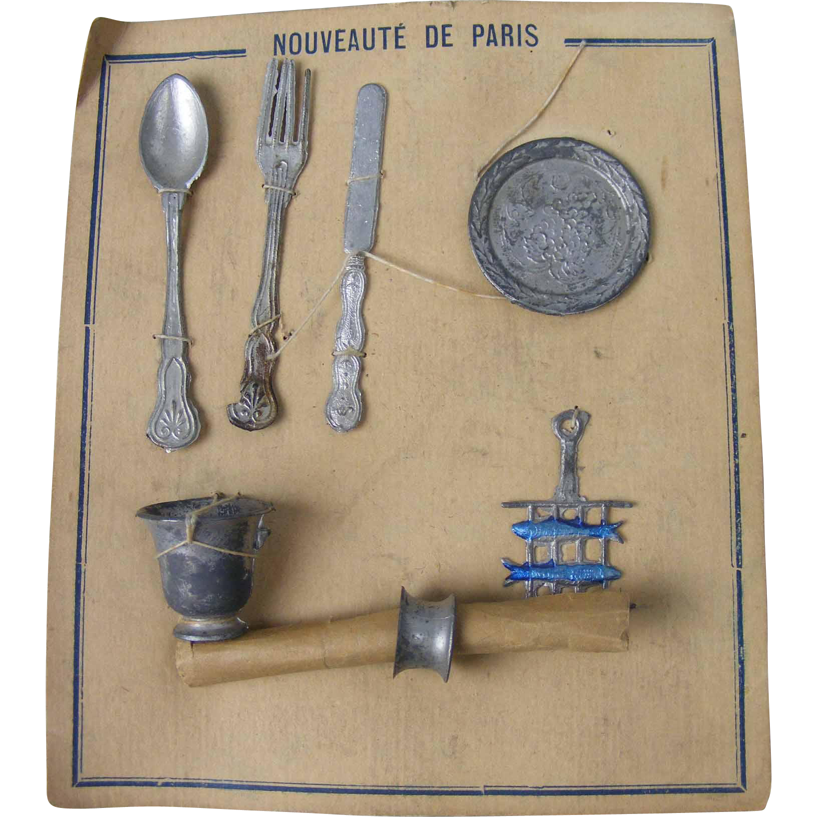 Old Doll Silverware on Original Card Marked Nouveaute' De Paris