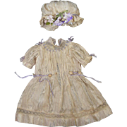 Antique Factory Silk Dress and Matching Bonnet for French or German Bisque Doll
