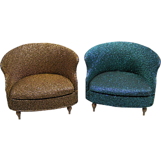 Two Sparkly Petite Princess Barrel Chairs- Retro!