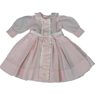 Pink Dotted Cotton Dress for Bisque, Compo, or Hard Plastic Girl Doll