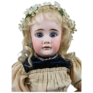 """Early Antique German Bisque Doll with Her Original Clothes and Wig 18"""""""