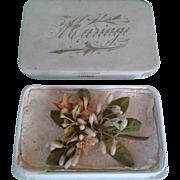 Antique French Doll Wax Wedding Bouquet in Box