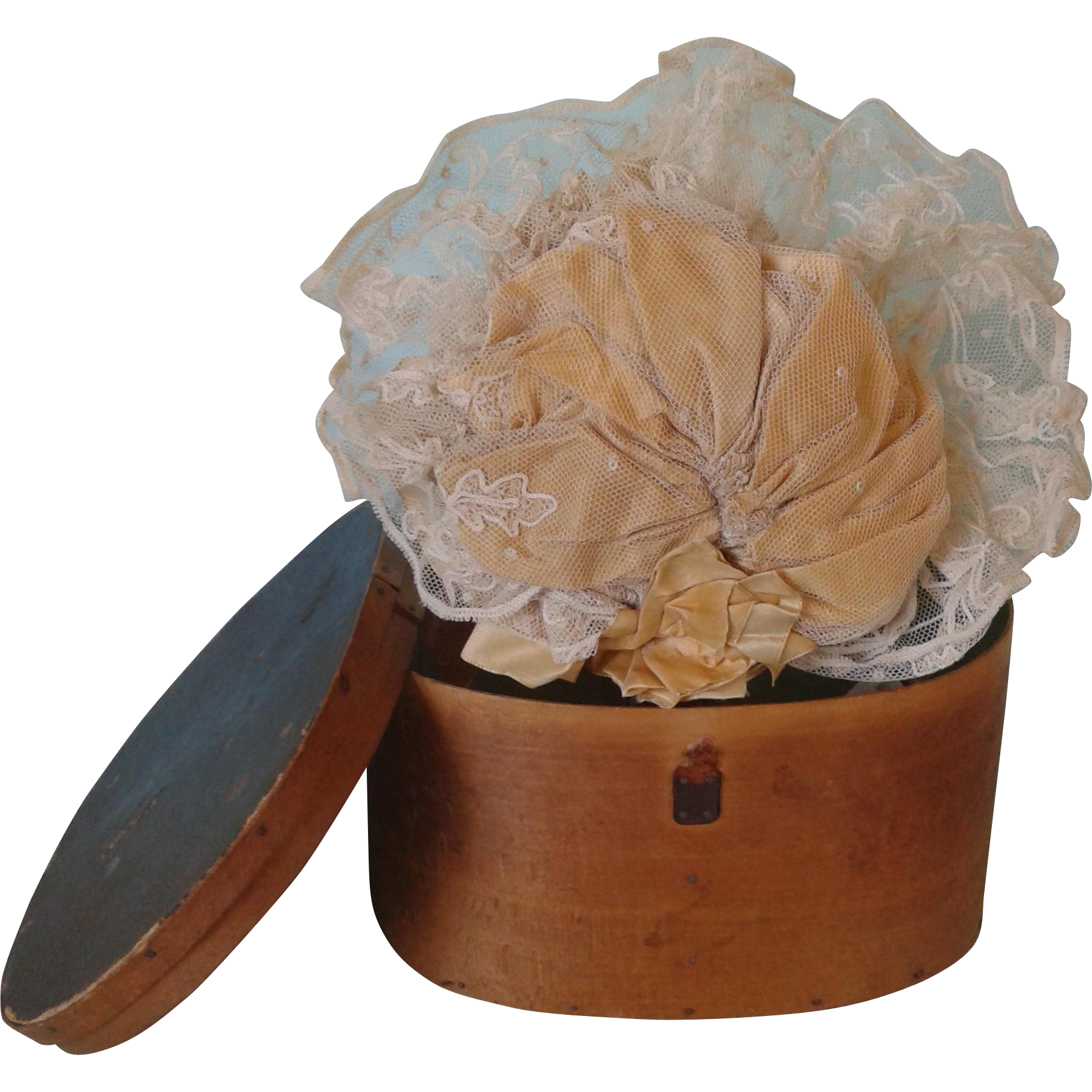 Antique French Silk Hat in Wooden Hat Box