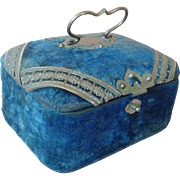 "Antique French Velvet Sewing or Toilette Box for French Fashion 3"" x 4"" Size."