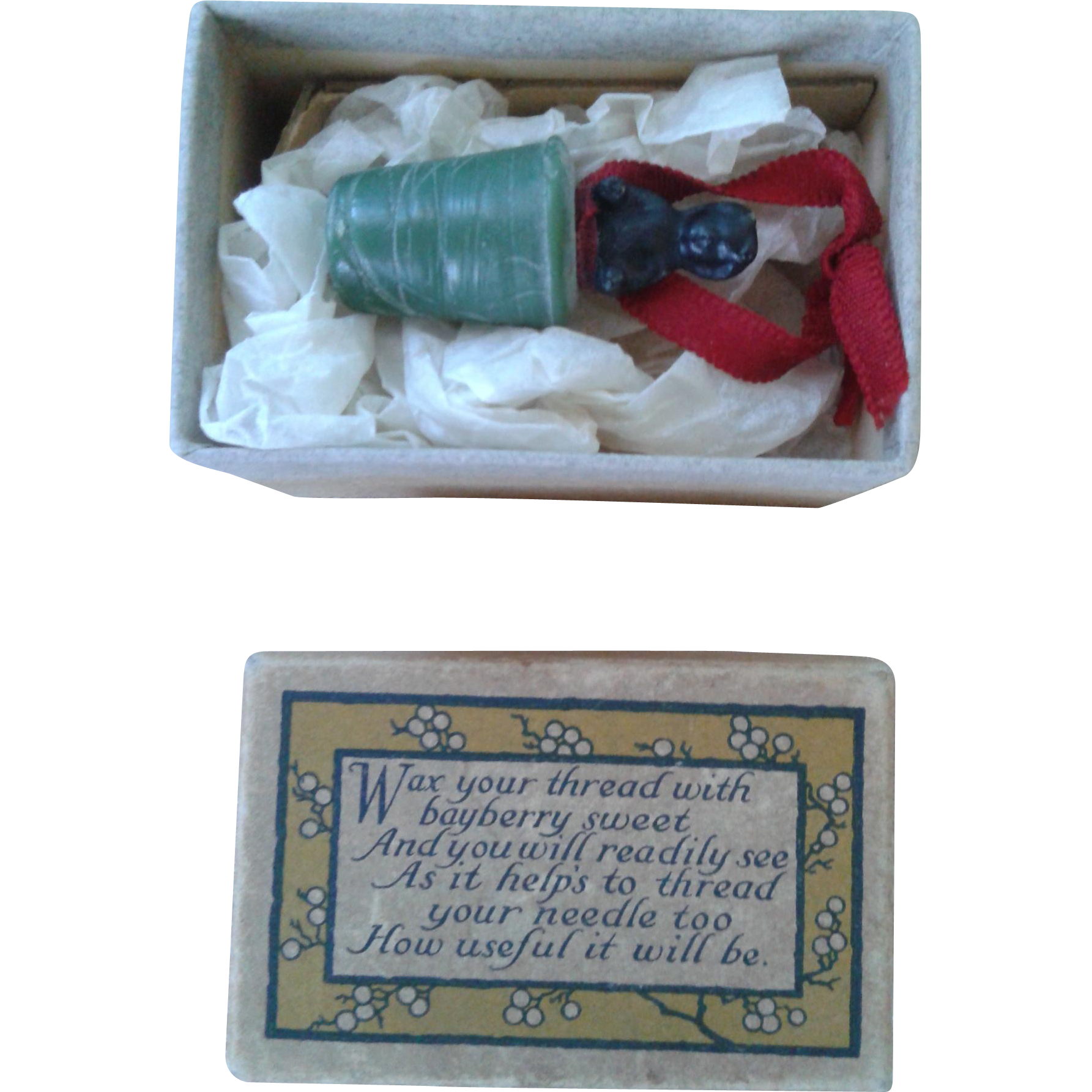 Rare Antique Sewing Frozen Charlotte Waxer with Box
