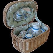Antique French Porcelain Toilette Set in Presentation Basket