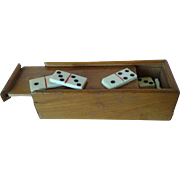 Antique Miniature Boxed Set of Dominoes