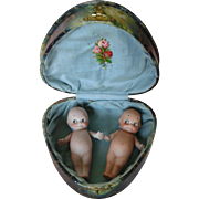 "Pair of 4.5"" Rose O'Neill Kewpies in Celluloid Heart Box"
