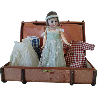 Antique Doll & French Wardrobe Trunk
