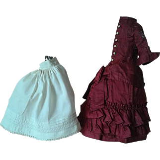 Antique French Fashion Silk Dress and Petticoat