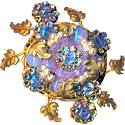 Brooch--Large Vintage Miriam Haskell Florafoliate Pale Pink, Blue and Opalescent Glass