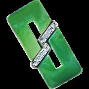 Brooch--Vintage 1960s Trifari Faux Jade Plastic with Rhinestones in Silver Tone Metal