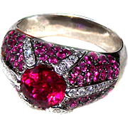 Ring--5 Carat Rubellite (Tourmaline), Brilliant Diamonds, and Tiny Rubies in 18 Kt White Gold
