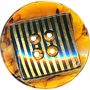 Button--Extra Large Laminated Celluloid Stripes & Faux Tortoiseshell