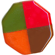Button--Large Vintage 4-Color Laminated Bakelite Octagon