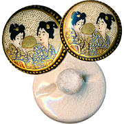 Button--ONE Small Fine Quality Late 19th C. Satsuma Pottery Two Ladies