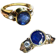 Ring--Custom Crafted Bezel-set Royal Blue 5.35 Carat Sapphire and Brilliant Diamonds in 3 Colors of Gold
