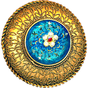Button ~ Very Elegant Large Enamel Pierreries Paillions on Dome in Filigree Overlay Brass