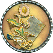 Button--Large Late 19th C. Celluloid in Pewter with Brass Nosegay & Calling Card