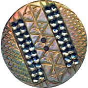 Button--Fine 19th C. Engraved Iridescent Pearl with Double Rows of Bright Cut Steels