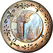"""Button--Late 19th C. Cameo Pearl """"Waiting Woman"""" Inlay with Engraved Pearl Medium Size"""