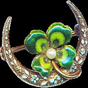 Brooch--Small Krementz Enamel Lucky Clover with Pearl & Enamel in 14 Karat Gold