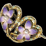 Brooch--Small Krementz Enamel Violets with Pearls on 14 Karat Gold Hearts
