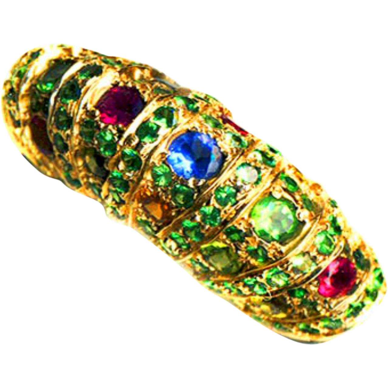 Ring--Large 18 Karat Gold Barrel Euroshank, Tsavorite Garnets, and Multihued Tourmalines