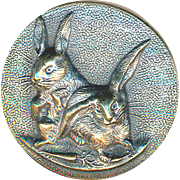 Button--RESERVED--Medium Late 19th C.Tight Bunnies--Paris Back Bird-cage Shank