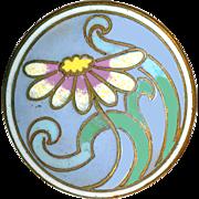 Button--Art Nouveau Undulating Daisy in Enamel on Brass