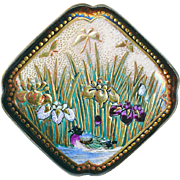 Button--Large Late 19th C. Square Satsuma Pottery Duck & Insects in Marsh