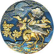 Button--Late 19th C. Japanese Mixed Shakudo Silver, Copper & Gold Moonlit Cranes