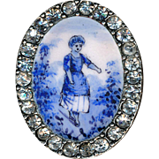 Button--Oval 19th C. Emaux Peints Enamel Blue on White Dainty Maid with Rhinestone Border