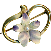 Brooch--Small Matte Satin Iridescent Enamel Violet with Pearl on 14 Karat Gold