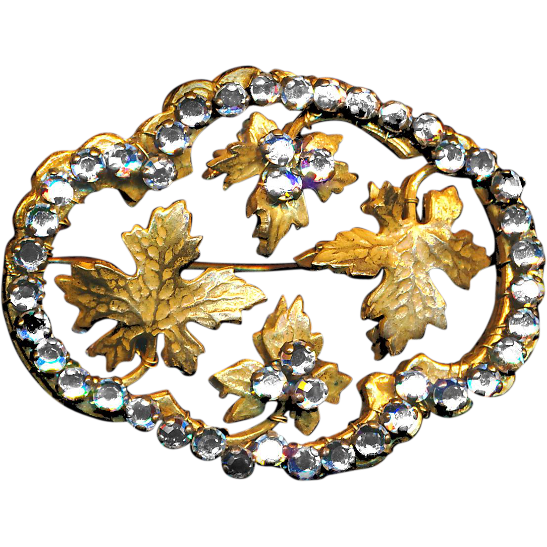 Brooch and Earrings--Large Old Hobe Demi-parure Russian Gold and Rose Montees in Foliate Design